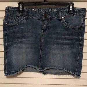 Express distressed hem jean skirt